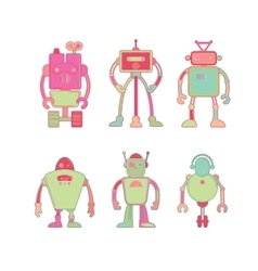 Cute colorful robot icon set vector image