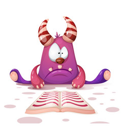 cute funny monster read book vector image