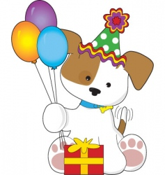 cute puppy birthday vector image