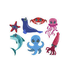 cute sea creatures collection ocean animals and vector image