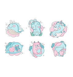 cute sleeping animals collection lovely whale vector image