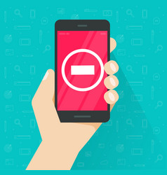 danger sign on smartphone flat cartoon vector image