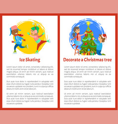 decorate christmas tree and ice skating poster vector image