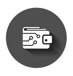 digital wallet icon in flat style crypto bag with vector image
