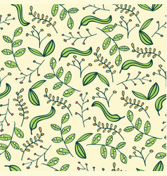 doodle seamless pattern with leafs vector image