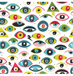 Endless background with monster eyes art vector