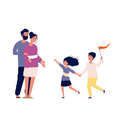 family together happy children running to parents vector image