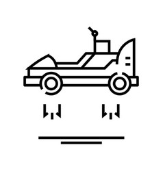 flying car line icon concept sign outline vector image