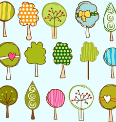 Funny trees seamless pattern vector image