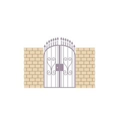 Gate with brick wall and a metal lattice icon vector image