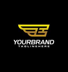 gold golden e wing wings alphabet letter logo vector image