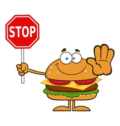 Hamburger Cartoon Holding a Stop Sign vector