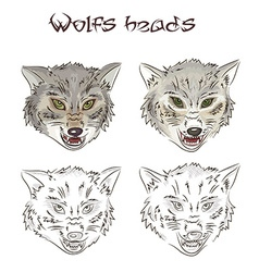 Hand drawn wolves heads Two of them are painted vector