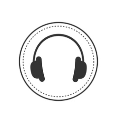 Headphones earphones with dash line round circle vector