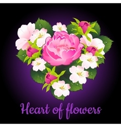 Heart of flowers peony and apple flowers vector image