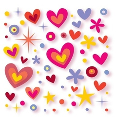 hearts flowers stars background vector image