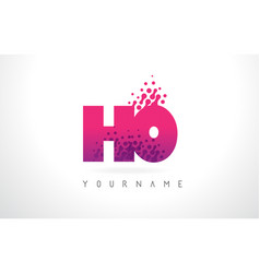 ho h o letter logo with pink purple color vector image