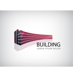 Horizontal red 3d building office logo vector