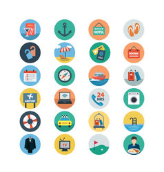 Hotel and Restaurant Flat Colored Icons 2 vector