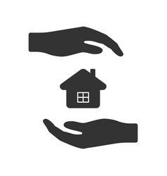 icon of hands surrounding the house from vector image