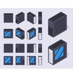 Isometric black pc cases vector