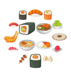 japanese food icons set cartoon style vector image
