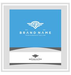 Letter f shield wing logo design concept vector