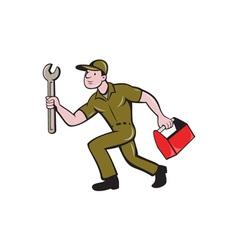 Mechanic Spanner Toolbox Running Isolated Cartoon vector