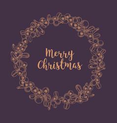 merry christmas wish inside wreath or circular vector image