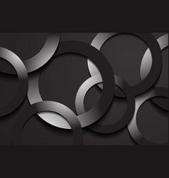 Modern black backgrounds 3d circle papercut layer vector