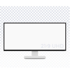 Monitor mockup display with ultra wide screen vector