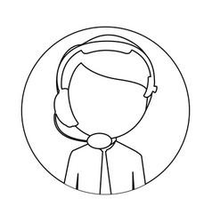 monochrome circular frame with man call center vector image