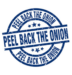 peel back the onion blue round grunge stamp vector image