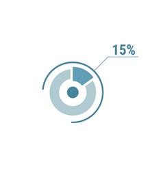 Percentage diagram graph 15 fifteen percent vector