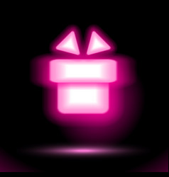 Pink gift icon neon lamp celebrations button for vector