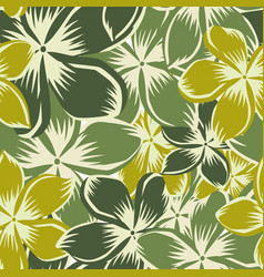 plumeria green yellow seamless pattern vector image