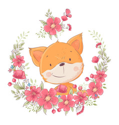 Postcard poster cute little fox in a wreath of vector