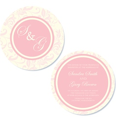 Round wedding invitation pink copy vector