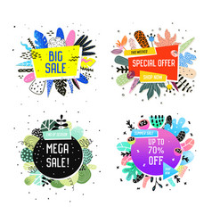 sale promotional banner set with abstract elements vector image