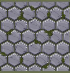 seamless pattern texture hexagonal stone tiles vector image