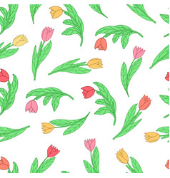 seamless pattern with cute cartoon colored vector image