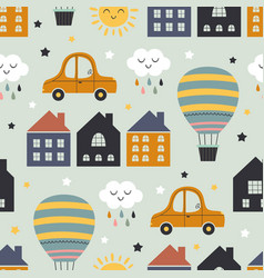seamless pattern with homes hot air balloon car vector image