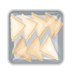 Semi-product dumplings packed under kitchen film vector