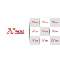 Set anniversary logo style with red line art vector