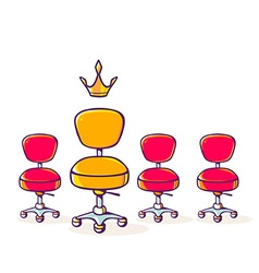 Set of red office chair and one yellow ch vector