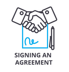 signing an agreement thin line icon sign symbol vector image