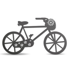 silhouette of a bike with a basket with flowers vector image