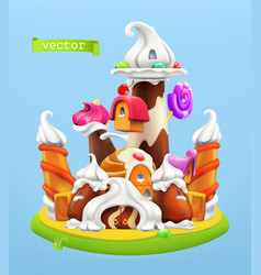 sweet castle 3d icon vector image