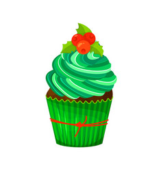 sweet christmas and new year cupcake vector image