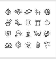 Symbol of china black thin line icon set vector